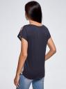 Футболка принтованная из комбинированной ткани oodji для женщины (синий), 11405140/46724/7975P