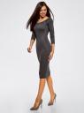 Платье облегающее с вырезом-лодочкой oodji #SECTION_NAME# (серый), 14017001/42376/2500M - вид 6