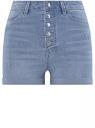 Шорты джинсовые с высокой посадкой oodji #SECTION_NAME# (синий), 12807098/46734/7000W
