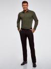 Рубашка базовая приталенная oodji для мужчины (зеленый), 3B140000M/34146N/6600N - вид 6