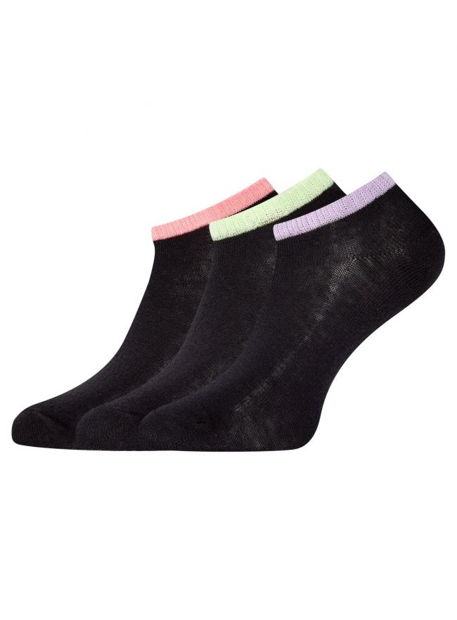 Комплект из трех пар укороченных носков oodji для женщины (разноцветный), 57102433T3/47469/19S3B