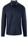 Рубашка хлопковая с контрастной отделкой oodji #SECTION_NAME# (синий), 3L110332M/48645N/7900O
