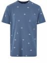 Футболка хлопковая с принтом oodji для мужчины (синий), 5L641001I-15/44135N/7912G