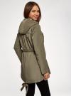 Куртка удлиненная на кулиске oodji для женщины (зеленый), 11D03006/24058/6601N - вид 3