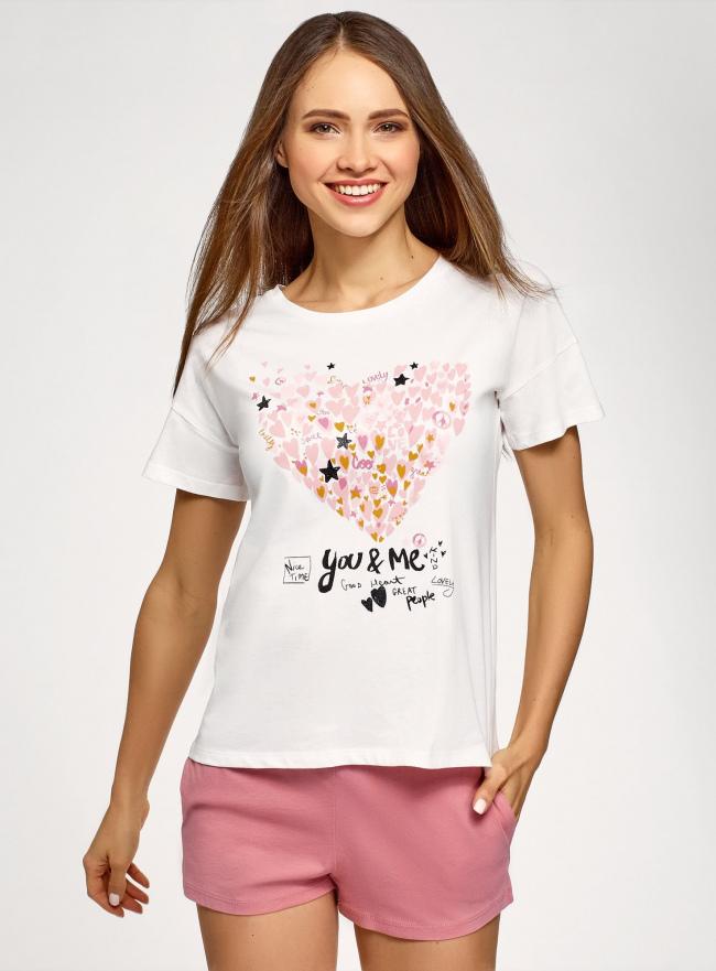 Пижама с шортами и принтом oodji для женщины (белый), 56002213-7/44135N/124BP