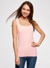 Топ из эластичной ткани на широких бретелях oodji для женщины (розовый), 24315002-1B/45297/4002N - вид 2