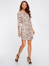 Платье вискозное с рукавом 3/4 oodji #SECTION_NAME# (бежевый), 11901153-1B/42540/3352A - вид 6