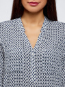 Блузка принтованная из вискозы oodji #SECTION_NAME# (белый), 11411049-1/24681/1075G - вид 4