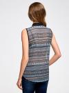 Топ из струящейся ткани с контрастной отделкой oodji для женщины (разноцветный), 14903001-1B/42816/2975G - вид 3