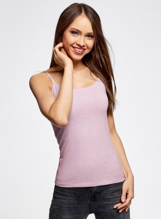 Топ трикотажный на тонких бретелях oodji для женщины (фиолетовый), 14305023-1B/46147/8000M