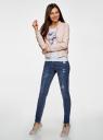Джинсы skinny с модными потертостями oodji для женщины (синий), 12103140/45869/7500W