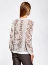 Блузка принтованная в спортивном стиле oodji для женщины (бежевый), 21400346/35202/1233A