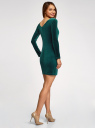 Платье бархатное с V-образным вырезом сзади oodji #SECTION_NAME# (зеленый), 14000165-4/48621/6E00N - вид 3