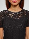 Блузка кружевная с коротким рукавом oodji для женщины (черный), 11414002/43757/2900N