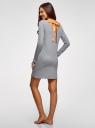 Платье трикотажное с завязками на спине oodji для женщины (серый), 59801021/46158/2019P