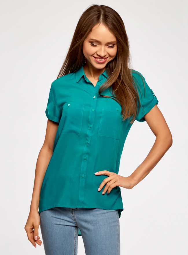 Блузка из вискозы с нагрудными карманами oodji #SECTION_NAME# (бирюзовый), 11400391-3B/24681/7300N