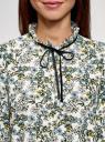 Блузка с декоративными завязками и оборками на воротнике oodji #SECTION_NAME# (слоновая кость), 11411091-2/36215/1219F - вид 4