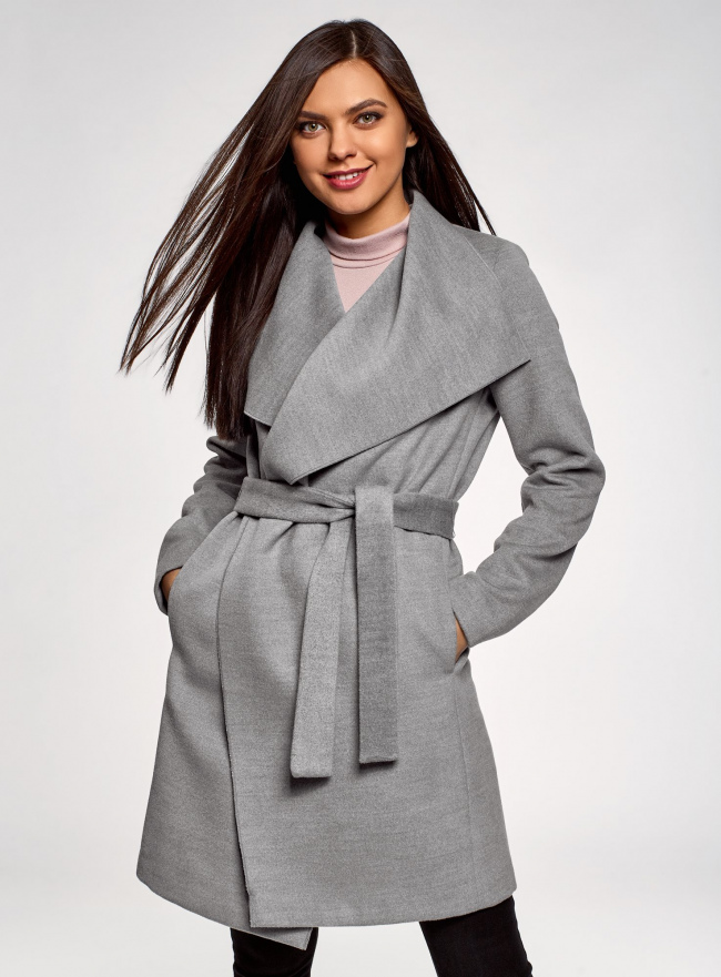 Пальто без застежки с поясом oodji #SECTION_NAME# (серый), 10104042-1/47736/2501M