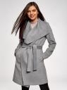 Пальто без застежки с поясом oodji #SECTION_NAME# (серый), 10104042-1/47736/2501M - вид 2