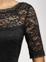 Платье кружевное с V-образным вырезом на спине oodji для женщины (черный), 14011033/47590/2900N