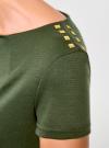 Платье приталенное с металлическим декором на плечах oodji #SECTION_NAME# (зеленый), 14001177/18610/6901N - вид 5