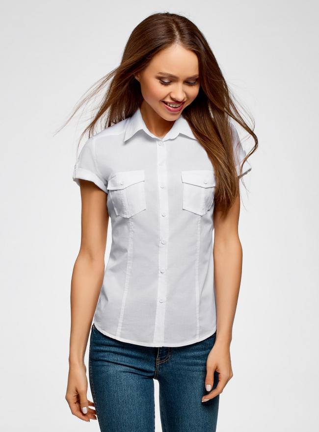 Рубашка базовая с коротким рукавом oodji для женщины (белый), 11402084-5B/45510/1000N