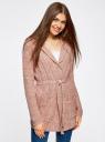 Кардиган с капюшоном и поясом oodji для женщины (розовый), 73207185-2/33491/4B12M