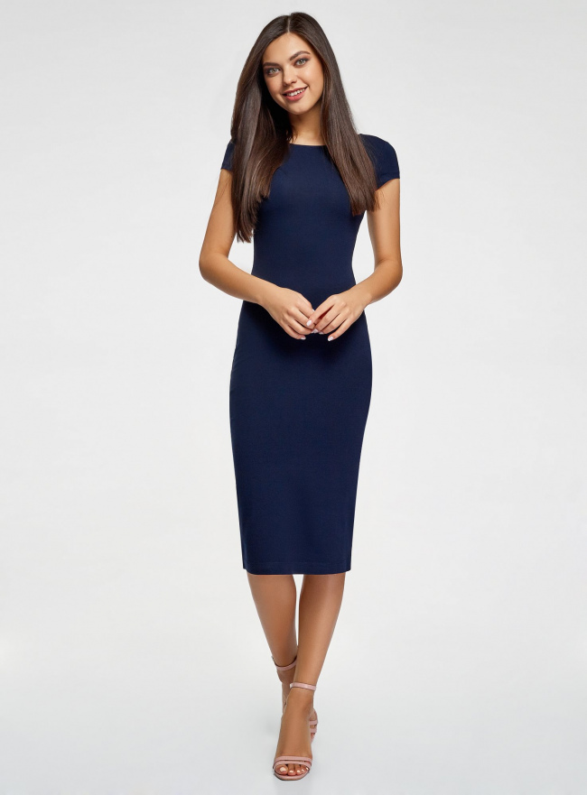 Платье миди с вырезом на спине oodji #SECTION_NAME# (синий), 24001104-5B/47420/7900N