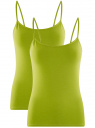 Майка женская (упаковка 2 шт) oodji для женщины (зеленый), 14305023T2/46147/6B00N