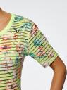 Футболка укороченная из ткани в полоску oodji для женщины (желтый), 14701083/33520/5119F
