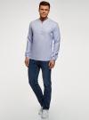Рубашка льняная без воротника oodji #SECTION_NAME# (синий), 3B320002M/21155N/7000N - вид 6