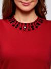 Платье трикотажное с декором из камней oodji #SECTION_NAME# (красный), 24005134/38261/4500N - вид 4