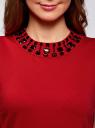 Платье трикотажное с декором из камней oodji для женщины (красный), 24005134/38261/4500N