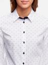 Рубашка хлопковая с рукавом 3/4 oodji #SECTION_NAME# (белый), 11403201-2/26357/1079D - вид 4