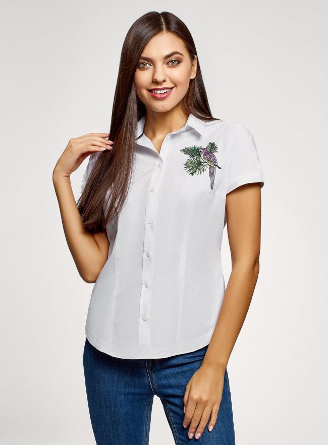 Рубашка хлопковая с вышивкой oodji #SECTION_NAME# (белый), 13K01004-6/14885/1019P