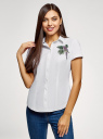 Рубашка хлопковая с вышивкой oodji #SECTION_NAME# (белый), 13K01004-6/14885/1019P - вид 2
