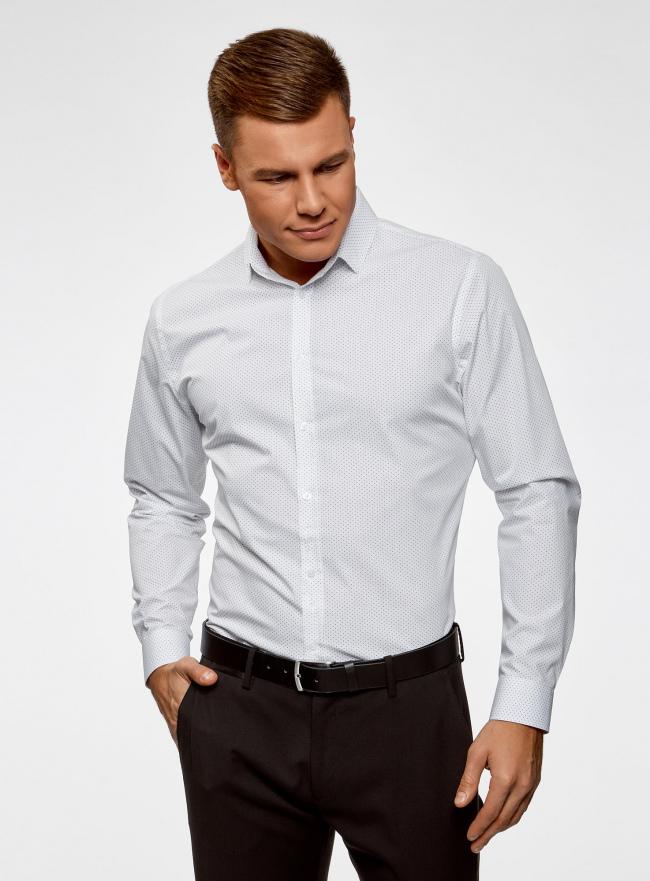 Рубашка приталенная в горошек oodji #SECTION_NAME# (белый), 3B110016M/19370N/1279D