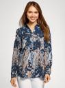 Блузка из вискозы с принтом oodji #SECTION_NAME# (синий), 21411144-4/26346/7933E - вид 2