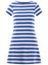 Платье A-образного силуэта с круглым вырезом oodji #SECTION_NAME# (синий), 14001201/48002/7510S