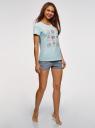 Пижама хлопковая с принтом oodji для женщины (синий), 56002217-3/46158/7023P