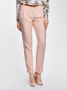 Брюки из фактурной ткани с ремнем oodji #SECTION_NAME# (розовый), 21714019-3/46742/4000N - вид 2