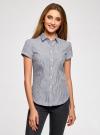 Рубашка хлопковая с коротким рукавом oodji #SECTION_NAME# (синий), 13K01004B/33081/1079S - вид 2