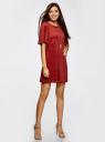 Платье из искусственной замши свободного силуэта oodji #SECTION_NAME# (красный), 18L11001/45622/3100N - вид 6