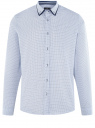 Рубашка хлопковая в мелкую графику oodji #SECTION_NAME# (белый), 3L110374M/19370N/1079G