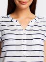 Блузка принтованная из вискозы с двумя карманами oodji #SECTION_NAME# (белый), 21412132-1/24681/1079S - вид 4