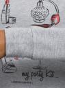 Свитшот хлопковый с принтом  oodji для женщины (серый), 14801045-13/48015/2029Z
