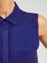 Топ вискозный с нагрудным карманом oodji для женщины (синий), 11411108B/26346/7500N