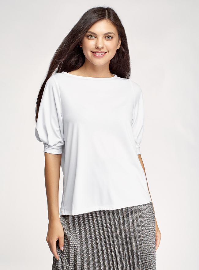 Блузка из крепового трикотажа с короткими рукавами oodji для женщины (белый), 14701113/46064/1000N