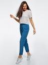Брюки на резинке с завязками oodji для женщины (синий), 23F05001B/35184/7912O