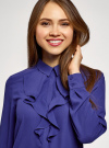 Блузка из струящейся ткани с воланами oodji #SECTION_NAME# (синий), 21411090/36215/7500N - вид 4